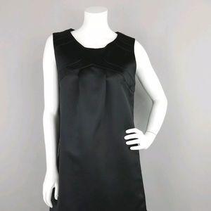 MAX AND CLEO BLACK SATIN SHEEN SLEEVELESS DRESS